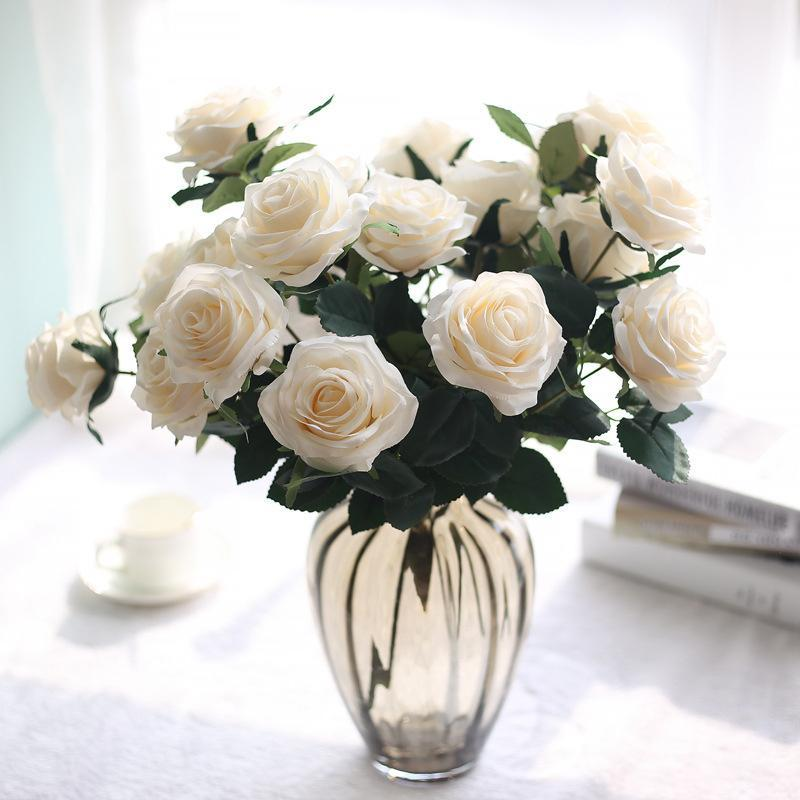 10 Heads Beautiful Rose Peony Wedding Artificial Silk Flowers Bouquet Flores Home Party Spring Decoration Marriage Fake Flower