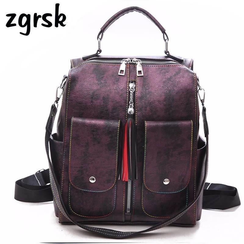 Soft Leather College Woman Fashion Female Backpack Large Capacity School Bag Tassel Mochila Feminina Women Rucksack Q1113