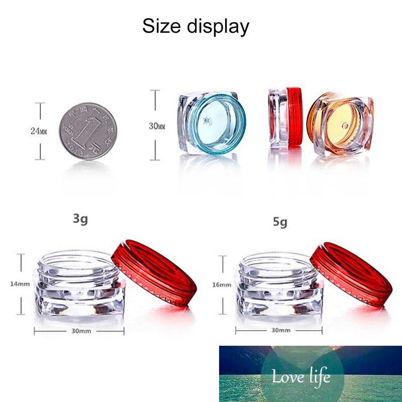 Tarro de plástico transparente Crema de ojos Plaza de contenedor de labios Gloss Jar Mini Cream Packaging 3G 5G Envío gratis