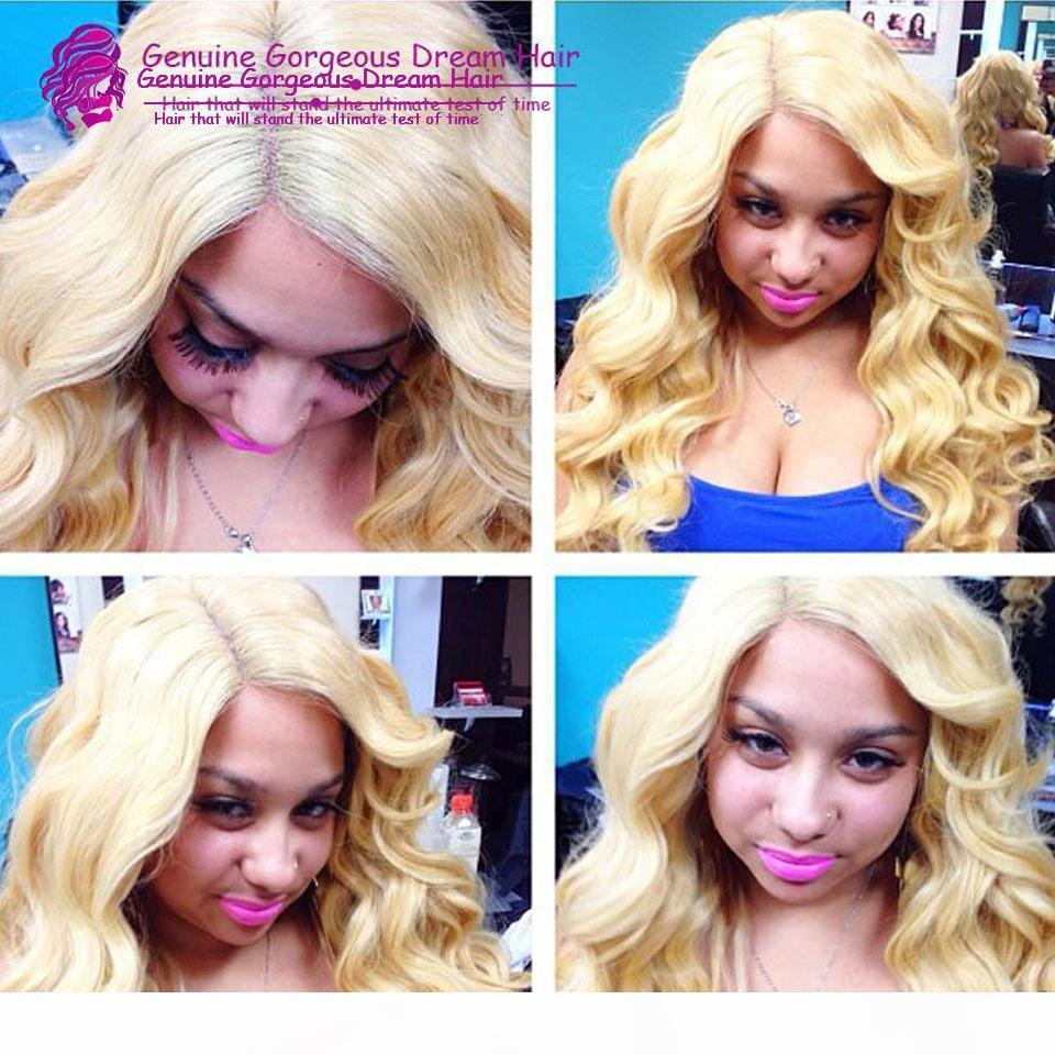 Чистые # 613 цвета 130density прозрачного шнурка 10-24inch бразильский бесклеевой полный шнурок парики блондинка Beyonce парики человеческих волос