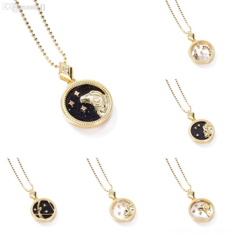 TZWAM Gold Crystal Sets Наборы Ювелирных Изделий Цвет Свадебное Ожерелье S925 Двенадцать Созвездие Браслет Кольцо Серьги Bridal Обручальное Драгос