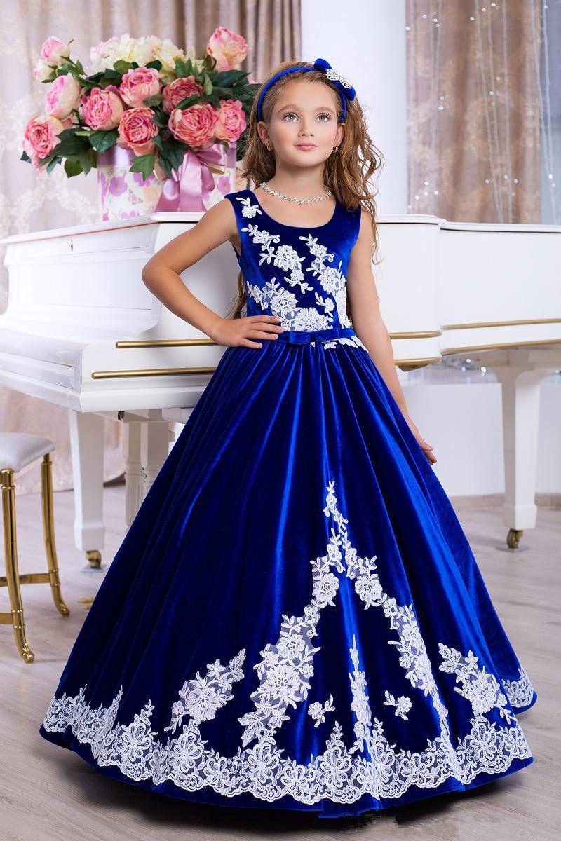 2021 Vestido de flores de terciopelo Vestidos de encaje Apliques Royal Azul Vestido de evento formal de encaje hacia arriba atrás Hermosa fiesta Gobinra