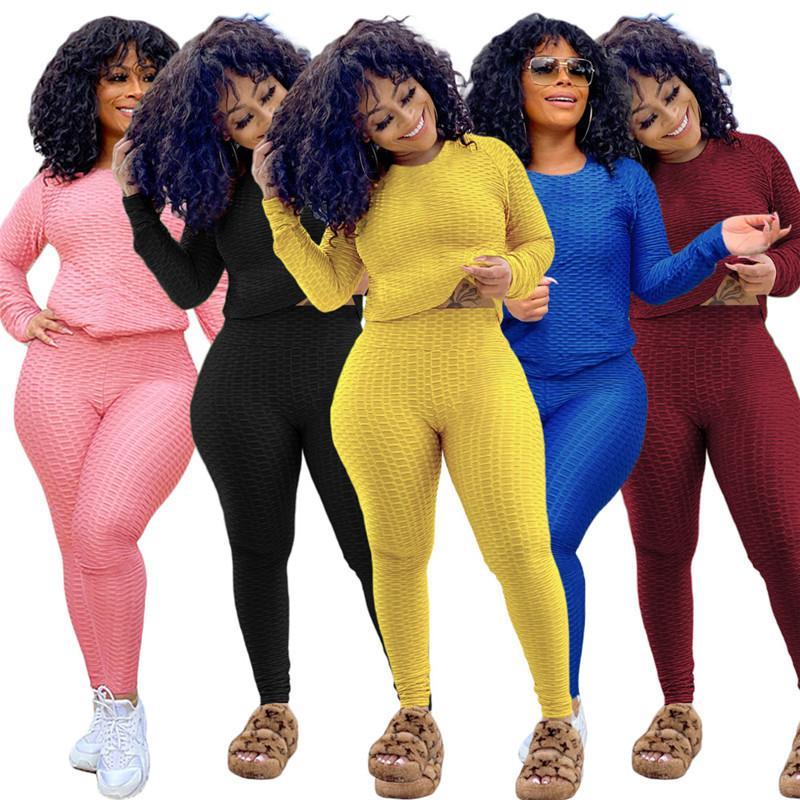 Chaud Selling Femmes Tracksuit Chemise à manches longues Chirurgie Pantalons Deux Morceau Set Skinny Shirt Collants Sport Support Pantalon Pullover H1721