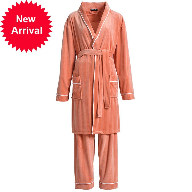 Autumn Winter Couple Women Pajama Sets Warm Coral Flannel Sleepwear Set Female Thick Long Soft Cute Nightwear