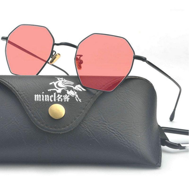 Mincl / Mell Frame Polygon Clear Lens Солнцезащитные Очки Дизайнер Бренд Дизайнер Мужчины Винтаж Солнцезащитные Очки Шестигранные Металлические рамки с коробкой FML1