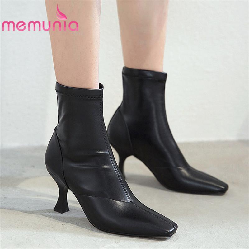 Memunia 2020 Venda Quente Botas de Couro Genuíno Bootas Mulheres Quadrado Toe Outono Botas de Inverno Sexy High Saltos Party Sapatos Senhoras