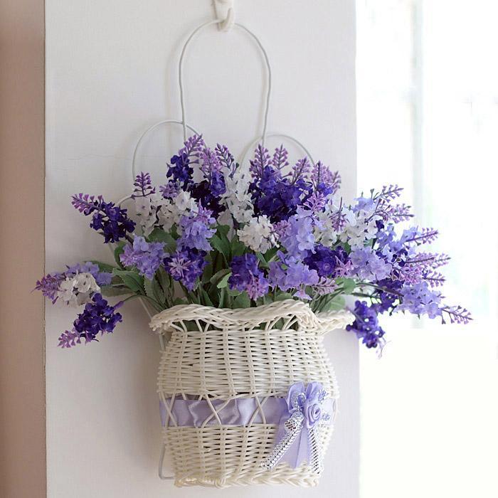Flor artificial Colgando Cesta de flores Decoración de lavanda de sala de estar dormitorio