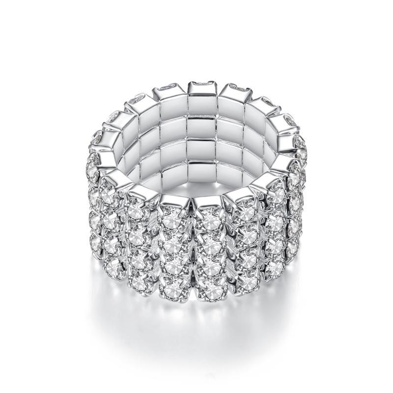 클러스터 링 여성을위한 이중 공정한 반짝이 1 ~ 4 행 크리스탈 로즈 골드 실버 컬러 탄성 손가락 반지 선물 패션 쥬얼리 Kar352