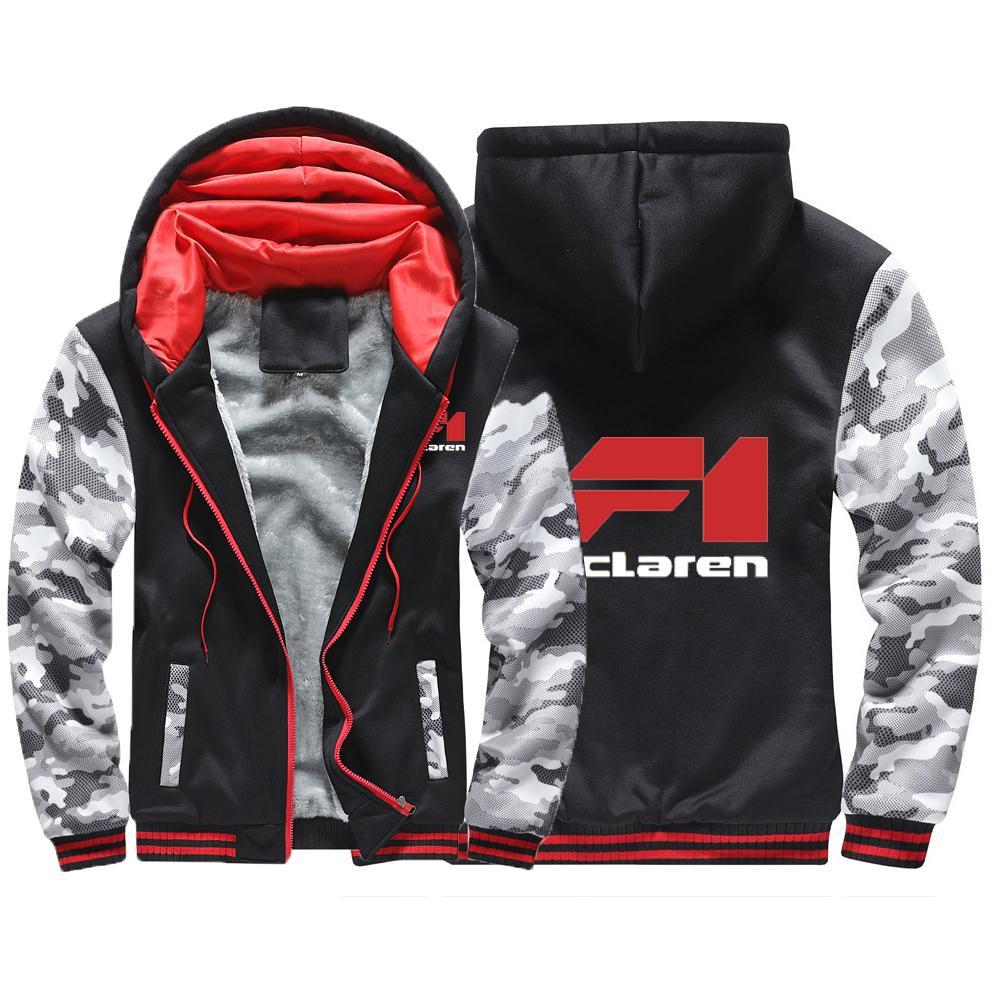 Homme 2020 NOUVEAU hiver McLaren Carte à glissière à glissière à capuche à capuche d'impression Sweatshirts Manteaux Épaissir Plus Coton rembourré Vestes confortables