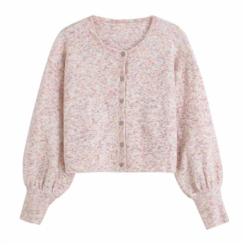 2021 New Elegant Women Pink Shirts Fashion Ladies The-neck Mesh Streetwear Female Jackets Chic Lantern Cardigan YZPH