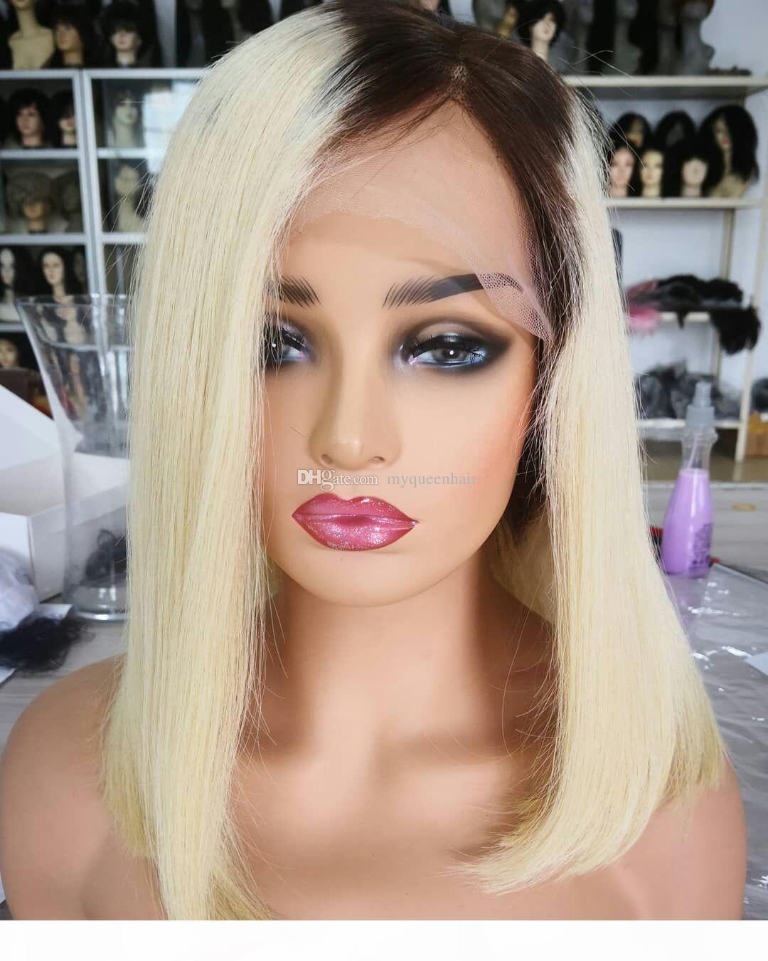Lace front virgem humana cabelo loiro cor 1b 613 reto transparente bob perucas 150% cor ombre cor completa perucas