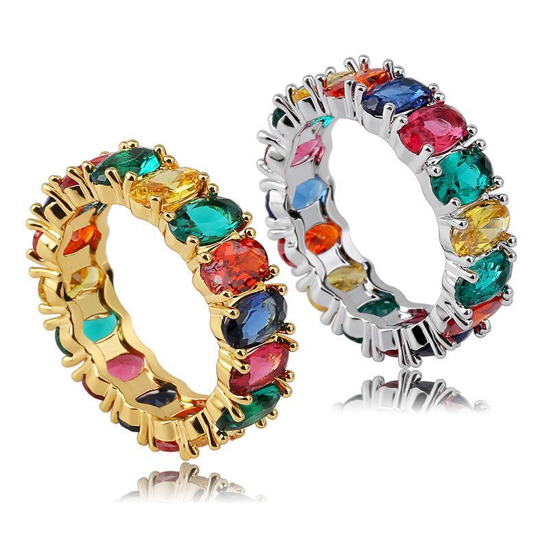 Anello ovale cubico anello arcobaleno Zirconia Eternity Anello Band colorato Cubic Zirconia Mens Bling Anello Dimensione (5 6 7 8)