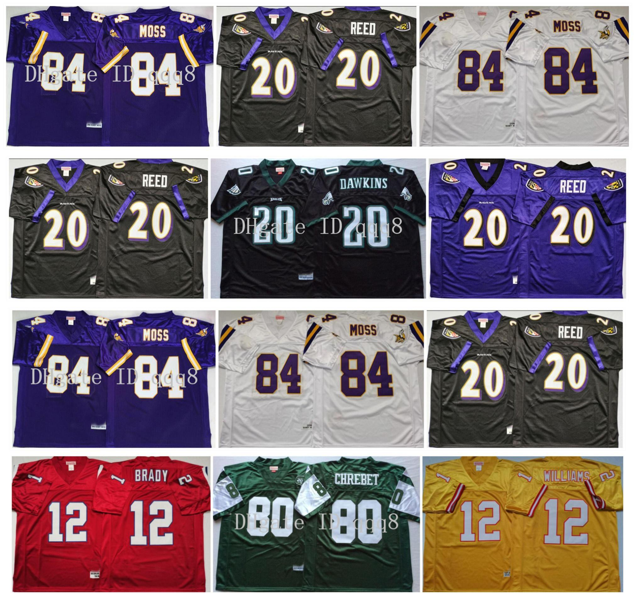 Retro 84 Randy Moss Jerseys 12 Tom Brady 20 Barry Sanders 20 Brian Dawkins 80 Wayne Chrebet 20 Ed Reed 12 Doug Williams MN Football Jerseys