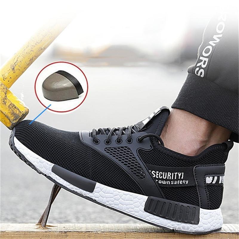 Chaussures de sécurité à la tête en acier pour hommes d'automne Chaussures de sécurité anti-ponctues Bottes de sécurité Hommes Souffre Souffre Homme Personal pour hommes 201222