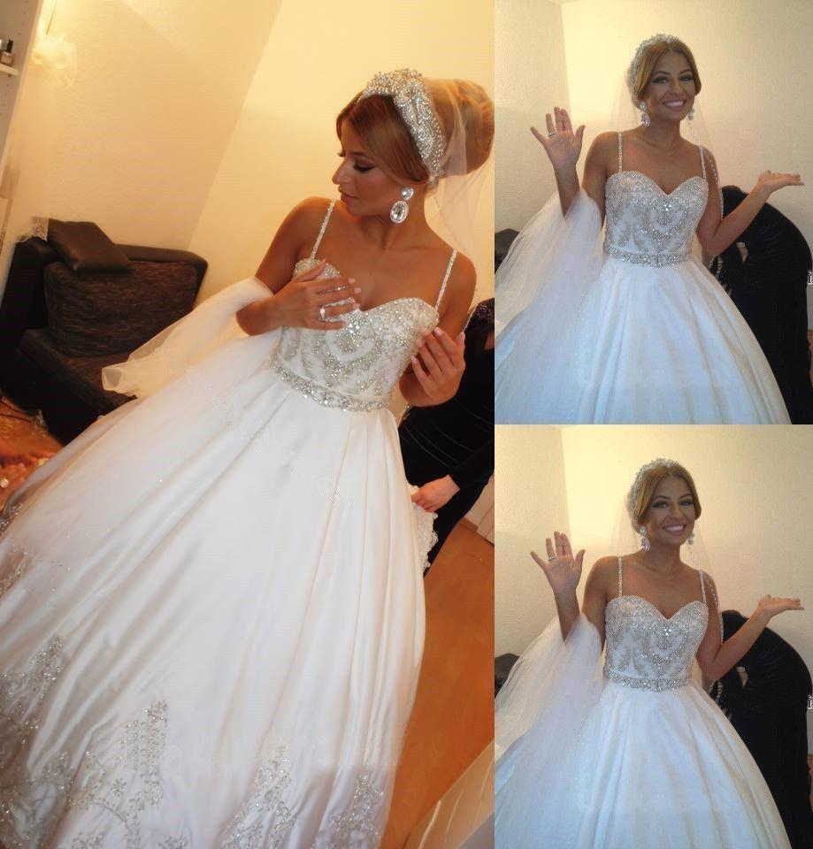Bling Weiß Ballkleid Brautkleider Perlen Kristall Günstige Land Hochzeitskleid Strand Brautkleider China Weiß Prinzessin P14