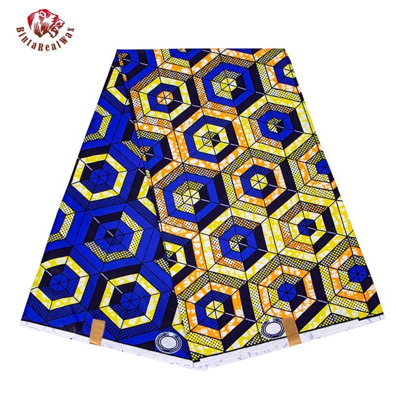 Bintarealwax 6 ярдов / Лот Африканская ткань Геометрические узоры Анкара Полиэстер Фэрбин для шитья Воск Печатательная ткань на дворском дизайнере FP6258