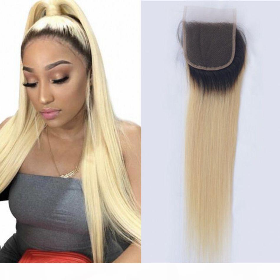 Малайзианское прямое закрытие кружева 1b 613 блондинка омбре человеческие волосы 4x4 закрытия с волосами младенца 8-20 дюймов
