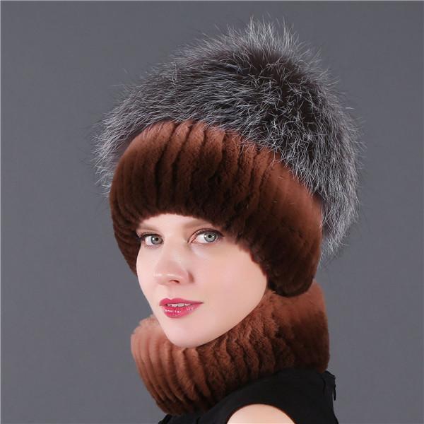 Hiver femmes mignonnes personnalisées fille chapeau de luxe vrais lapin fourrure acrylique tricoté tricoté