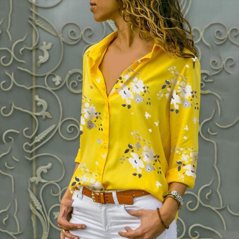 Женская блузка мода леопардовый цветочные напечатанные топы 2020 осенние дамы элегантный с длинным рукавом поворотные воротники рубашки плюс размер S 5xL