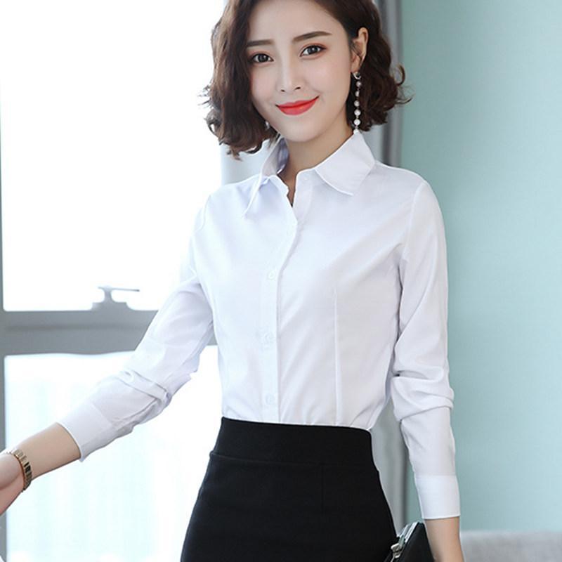 Koreanische frauen shirts baumwolle frauen langarm shirts licht hemd tops plus größe frau grundlegende blusen blusas mujer de moda 2020 q1218