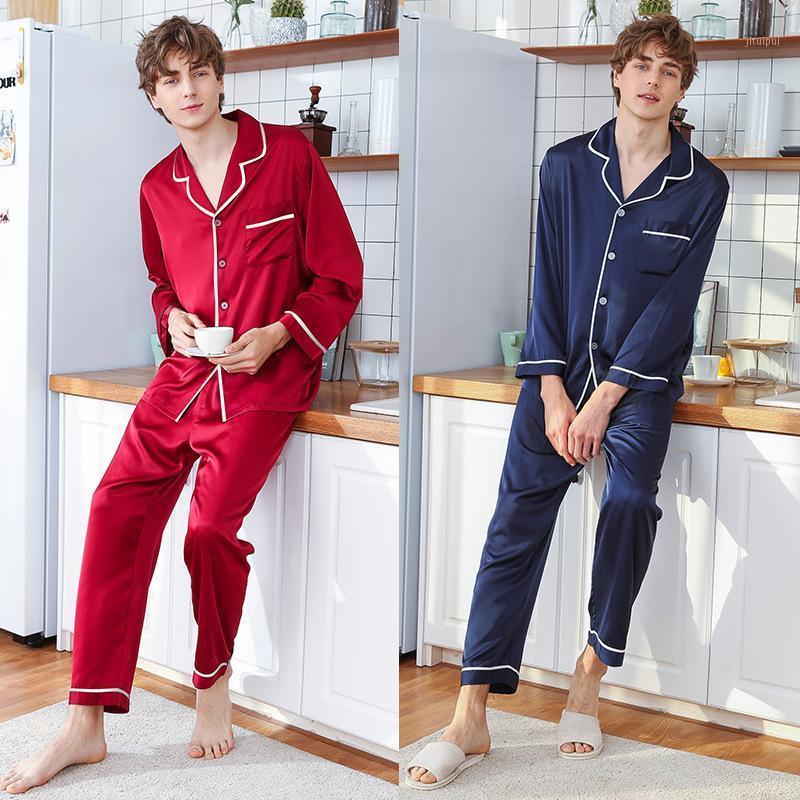 Erkekler Saten İpek Pijama Setleri Sıcak Satış Pijama Erkekler İlkbahar Yaz Uzun Kollu Pantolon Homewear Pijama Kış1