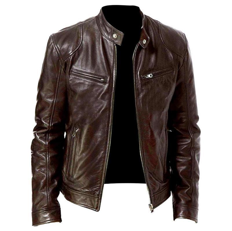 Мужчины Мотоцикл куртки Причинная Vintage кожаные куртки пальто мужчины Zipper карман Кожа PU