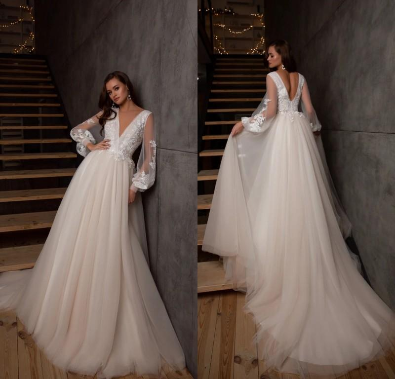 2021 vestidos de novia de campo de encaje con mangas largas Sexy profundo cuello en V cuello abierto jardín bohemian bohemian vestidos de novia