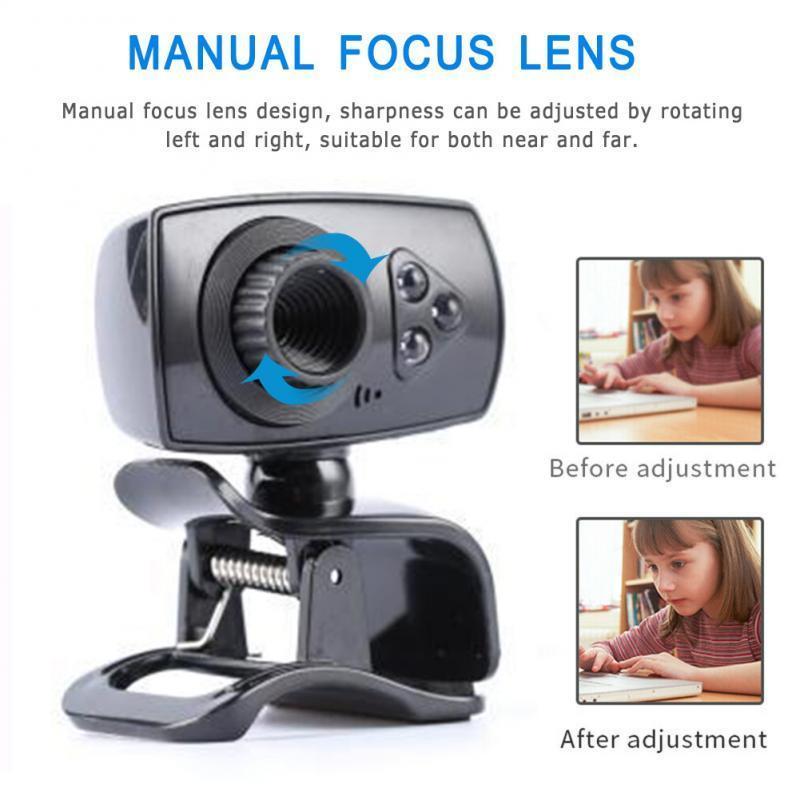 2020 Full HD 50mp Веб-камера USB 3 Светодиодная камера 360 ° Вращение Черный встроенный Микрофон Бесплатная 480P Компьютерная камера для ноутбука ПК