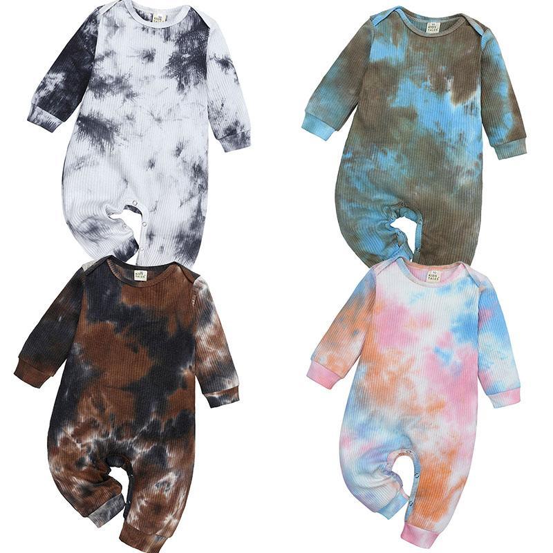 جديد ربيع الخريف الاطفال ملابس الطفل التعادل صبغ رومبير طويلة الأكمام الرضع التدرج اللون حللا الأولاد الفتيات عارضة الملابس M3143