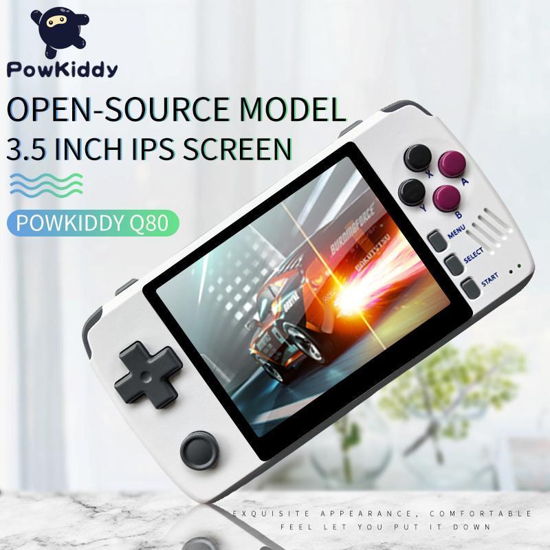 """Powkiddy Q80 Handset rétro 3.5 """"Écran IPS intégré 1000 + Jeux Open System PS1 Simulateur 16G Mémoire Nouveaux jeux"""