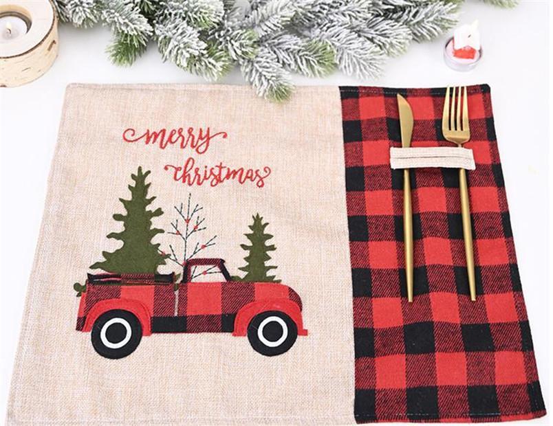 빨간 차 부엌 홈 장식 메리 크리스마스 테이블 식탁 깔개는 검은 색 체크 무늬가 칼과 포크 패드 매트 빨간색