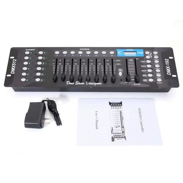NUOVO DESIGN 192CH DMX512 DJ LED Black Phase Light Controller (AC 100-240V) Materiale di alta qualità in metallo