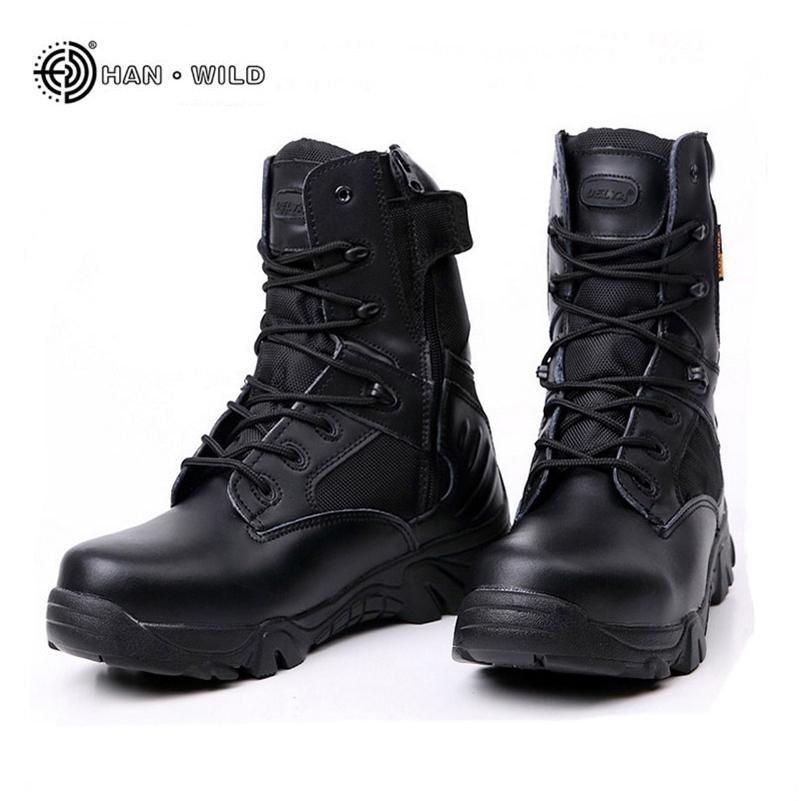 Taktik Ordu Çizmeleri Erkekler Için Kış Hakiki Deri Su Geçirmez Kauçuk erkek Botlar Güvenlik İş Ayakkabı Askeri Savaş Ayak Bileği Çizmeler 201215
