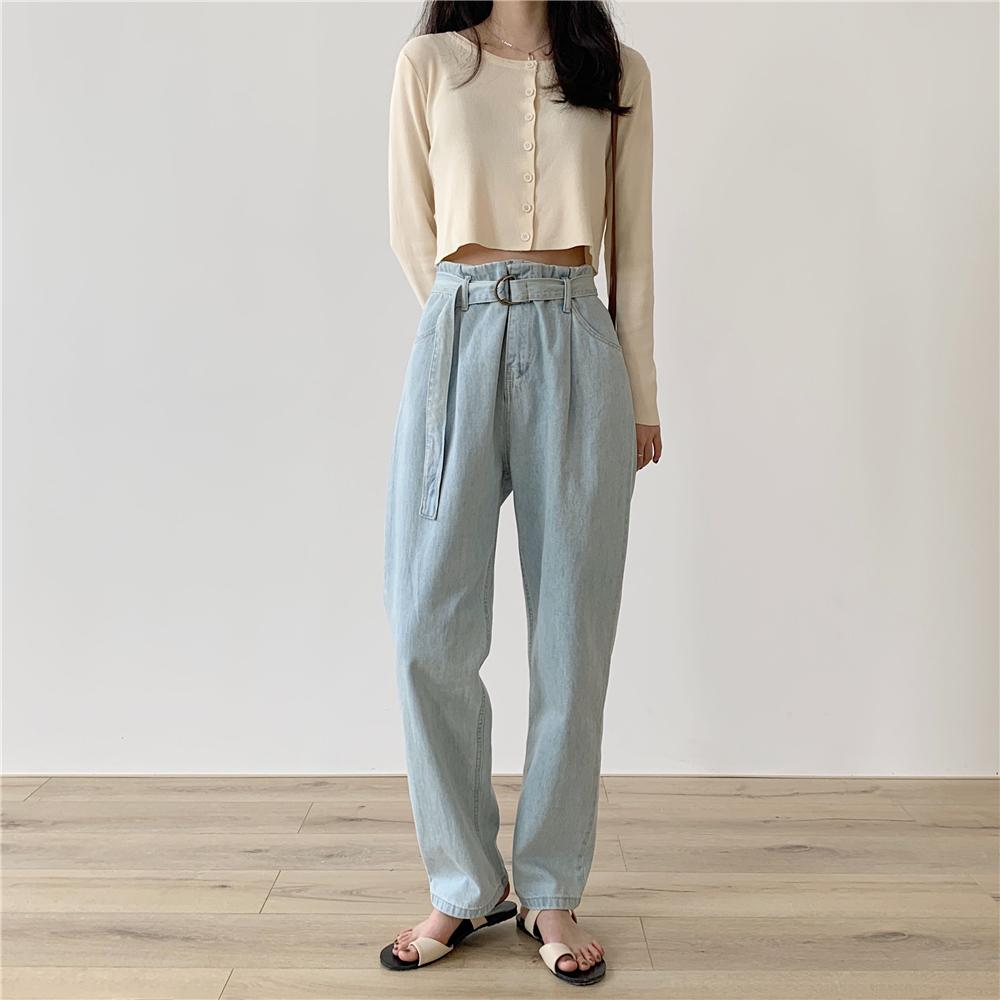 Yanueun Women's Wide-leg Casual Loose High Waist Poets Jeans with Sashes Long Demin Pants for Female
