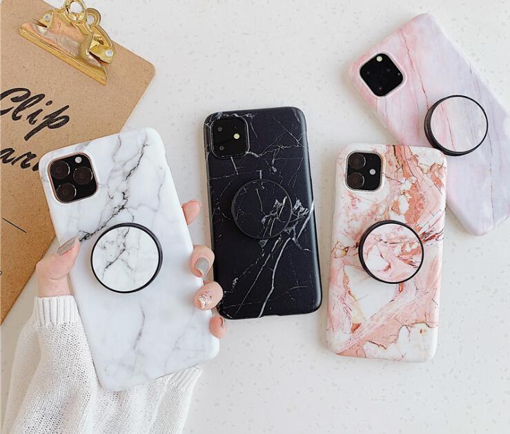 대리석 전화 케이스 브래킷 실리콘 케이스 아이폰 12 11 프로 최대 iPhone x 7Plus xs 최대 8 플러스 4 색 DHL