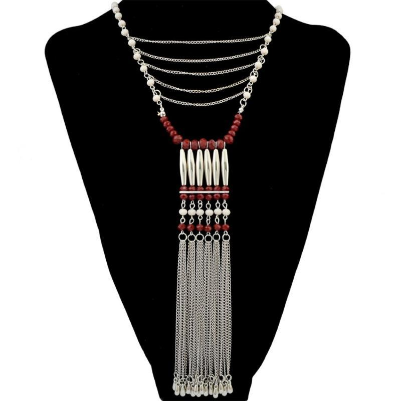 Bohemian 레드 화이트 블루 수지 구슬 체인 긴 라인 술 여성용 Boho Turkish Party Jewelry 선물 Johoia를위한 펜던트 목걸이
