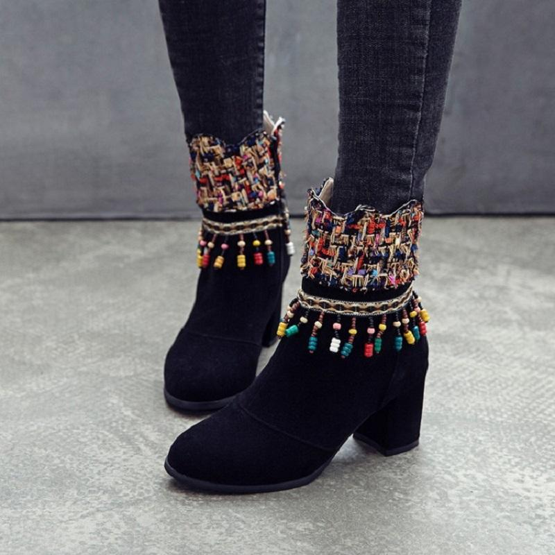 High heels ankle boots for women autumn winter sexy string bead ladies shoes chunky heels boots botas mujer big size