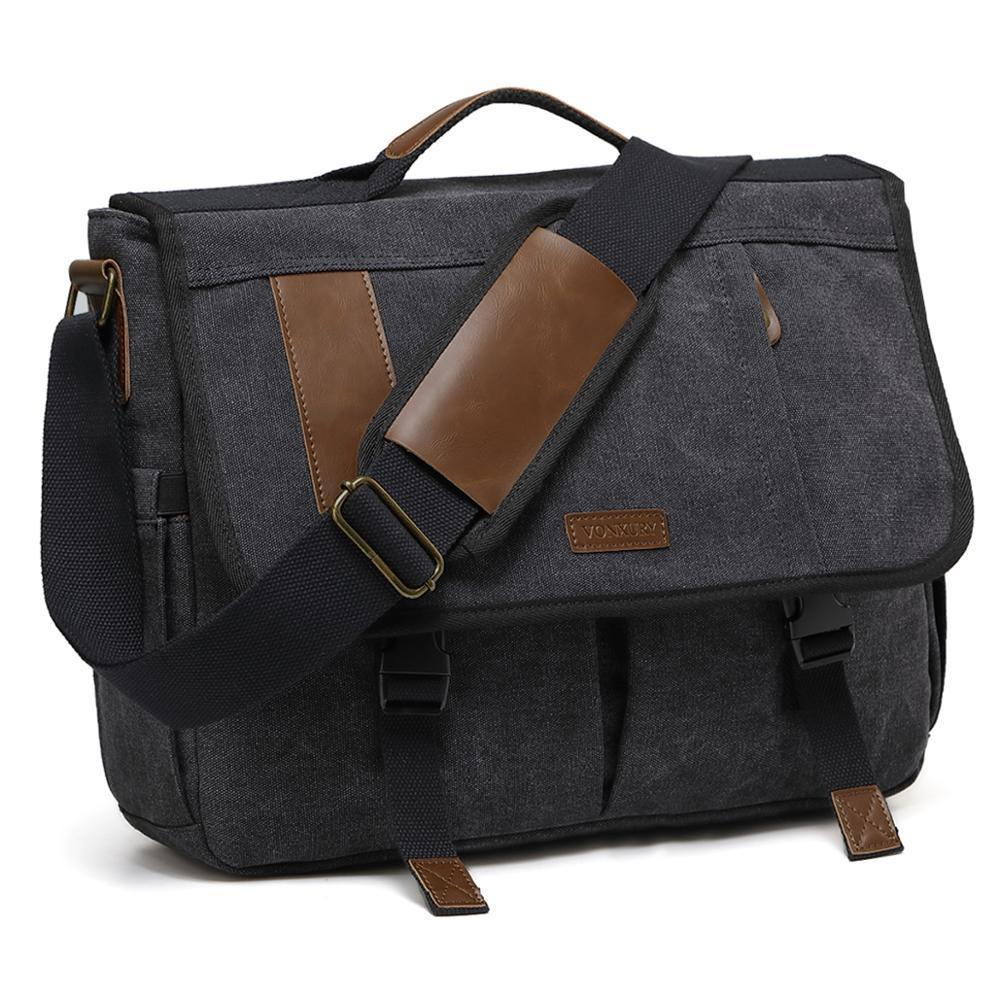 HBP Canvas Messenger for Men Briefcase 17 inch Laptop Satchel Bag Padded Shoulder Strap Water Resistant Q0112