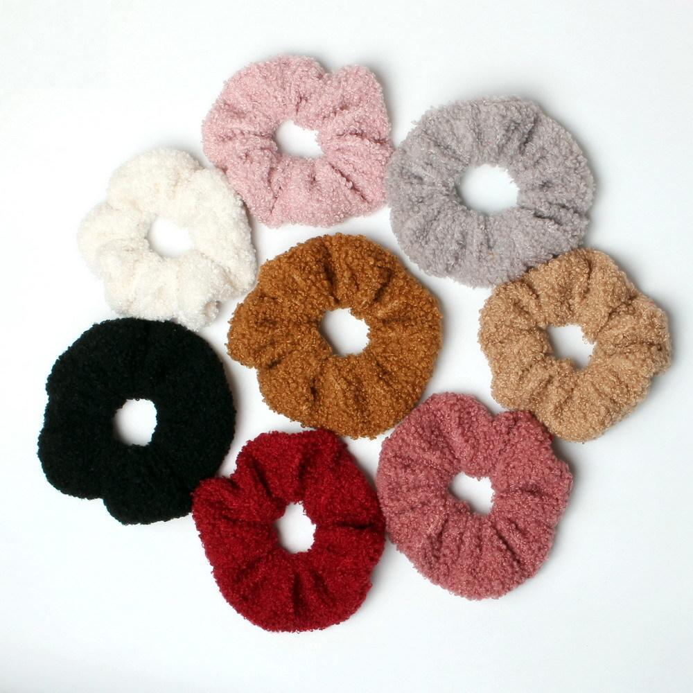 2 adet Lambswool Scrunchies Set Sevimli Elastik Kurdonlar Kadınlar Kızlar Için Kış Kravatlar Saç Aksesuarları At Aksesuarları At Aksesuarları