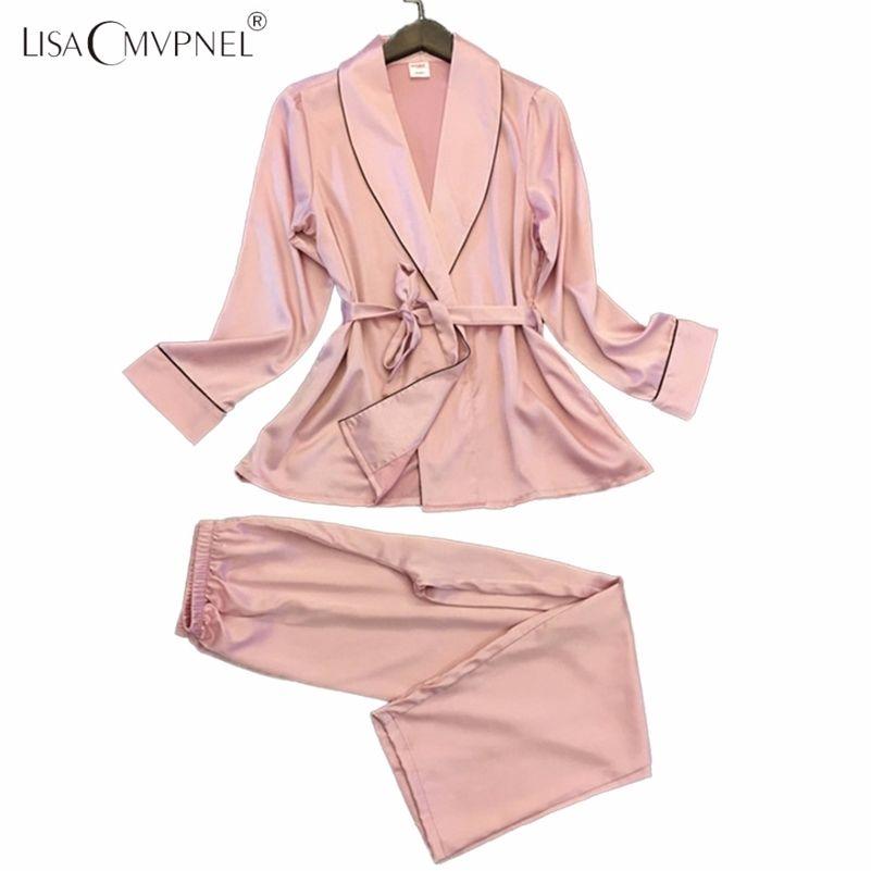 Lisacmvnel largo estilo suave mujer transpirable pijamas rayon casual hembra pijama conjunto Twinset Mujeres Homewear 201217