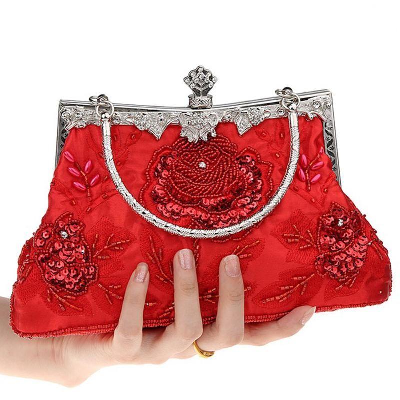 Fashion Red/Blue Beading Elegant Top-Handle Dinner Small Purse Female Party Ladies Bag Clutch Women Sequins Phone Handbag Sqjje