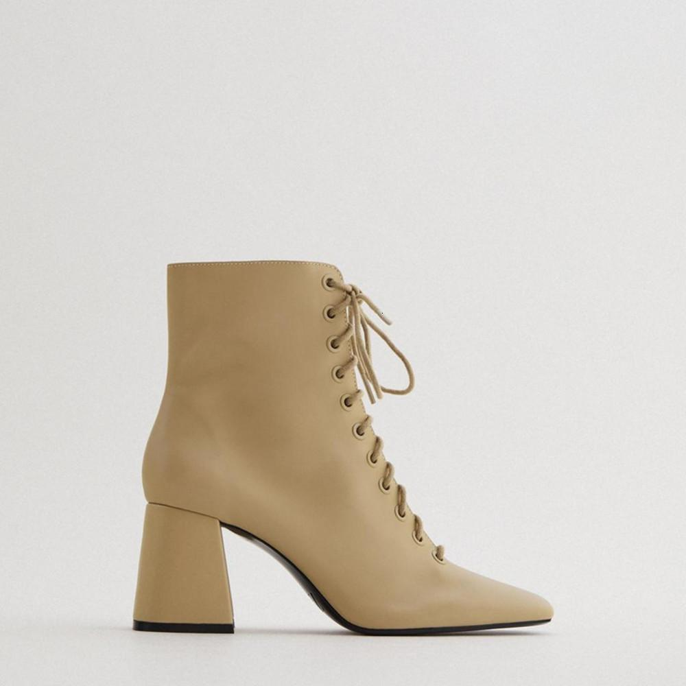 Camello marrón cordones koe cuero alto ganchos zapatos cortos zapatos