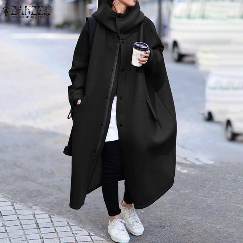 Женские куртки Zanzea 2021 стильные водолазки пальто женские сплошные длинные рукава мешковатые верхние одежды женские кнопки пальто плюс размер 5xL1