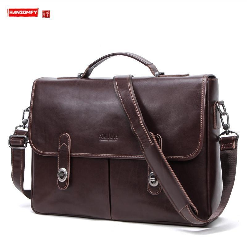 Puede mantener el maletín de negocios de los hombres de cuero de computadora de 15.4 pulgadas, bolsos de cuero multifuncionales, bolsos de mensajero de hombro