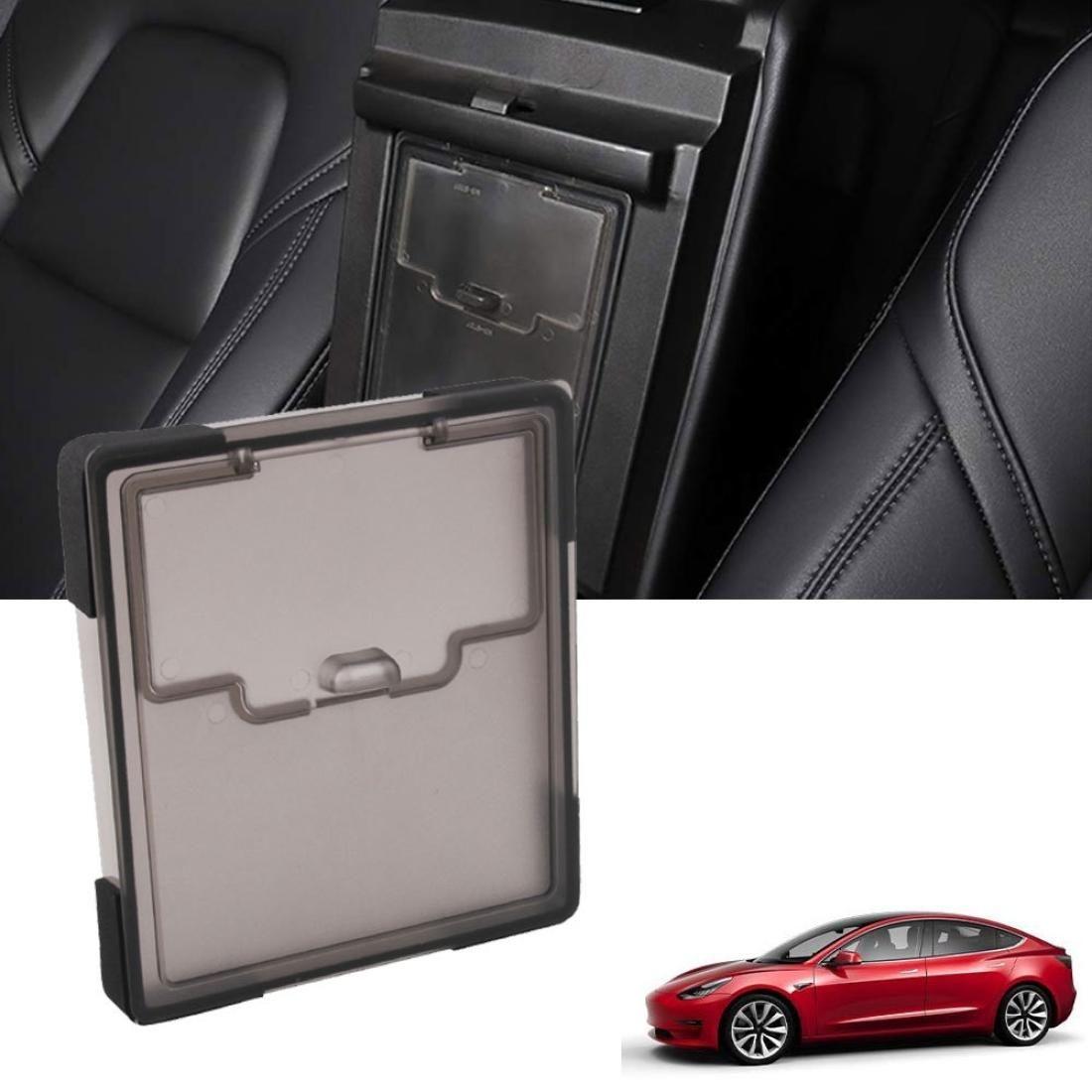 Gizli Şeffaf Saklama Kutusu Merkezi Kontrol Kolçak Kutusu Kapak Tesla Model 3 için