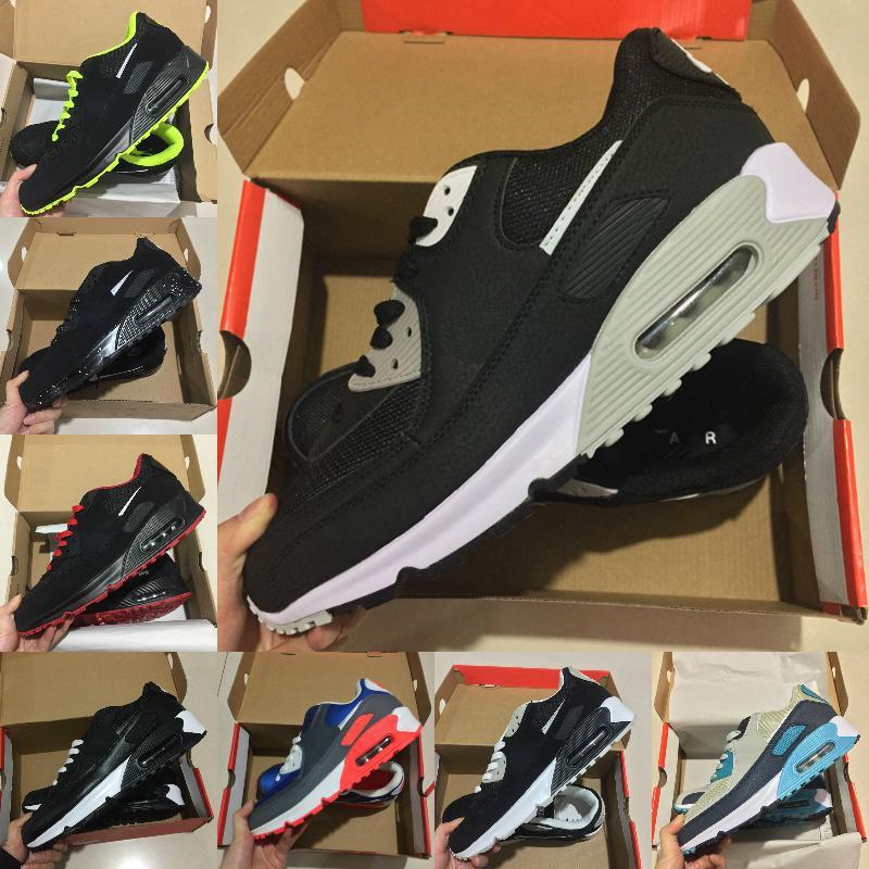 Satış 2021 Yeni Hava Yastığı 90 S Rahat Gökkuşağı Ayakkabı Erkek Kadın Ucuz Siyah Beyaz Kırmızı 90 Sneakers Klasik Eğitmen Açık Tasarımcılar Ayakkabı