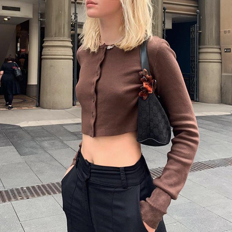 Kahverengi Tek Göğüslü Y2K Femme T-Shirt Moda 2020 Estetik O-Boyun Uzun Kollu Harajuku Kırpma Üst Kadın Tee Gömlek Streetwear X1217