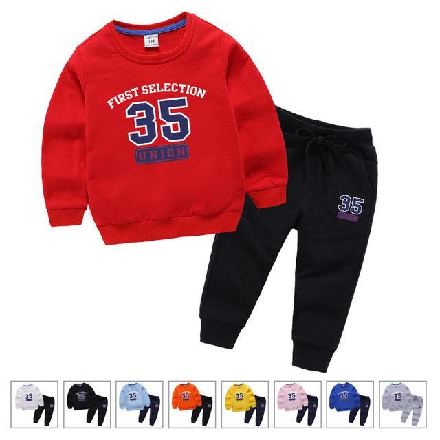 Marka Tasarımcısı 100% Pamuk Çocuk Giysileri Erkek Kız Giyim Seti Eşofman Spor Uzun Kollu Kazak + Çocuklar için Pantolon Ayarla 123