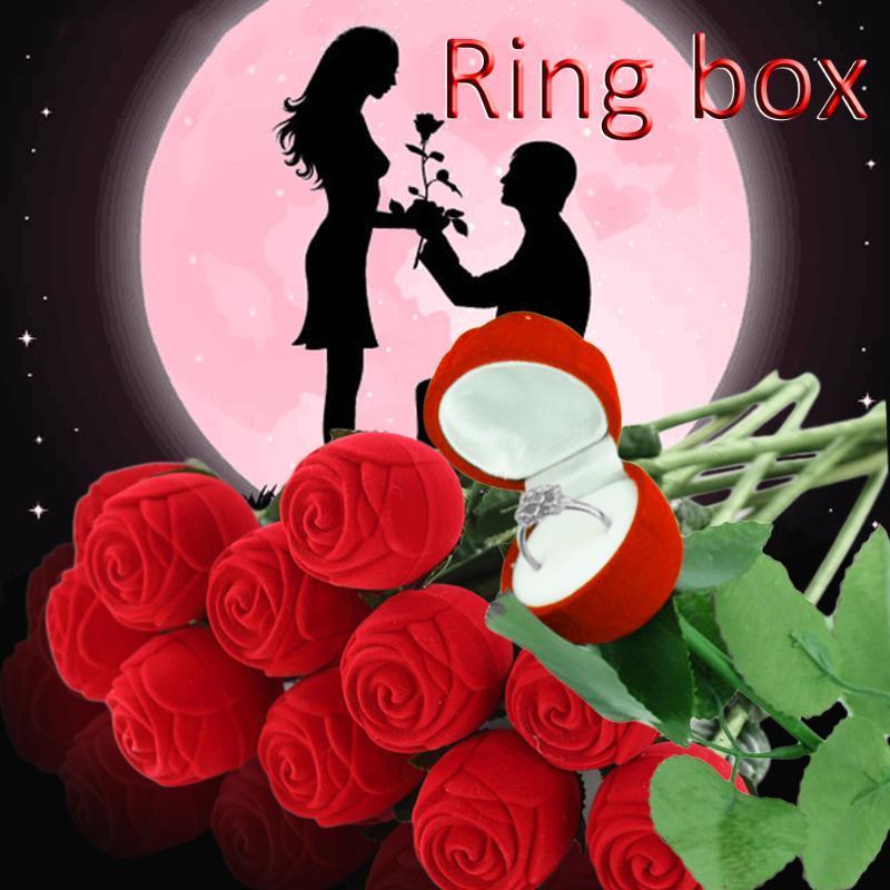 Hediye Paketi 2021 Varış Yaratıcı Kırmızı Gül Yüzük Kutusu Takı Kutuları Earring Depolama Organizer Vaka Sevgililer Günü için
