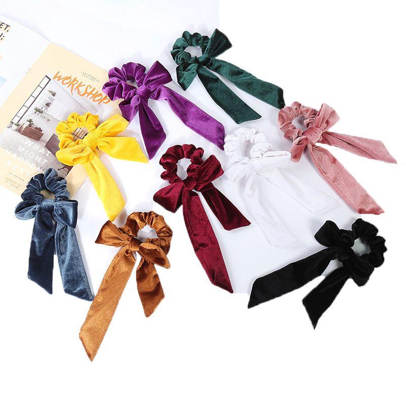 Netter Mädchen-Haar-Seil-Velvet Scrunchies Bowknot elastischer Haar-Bänder Frauen Bow Riegel-Pferdeschwanz-Halter Kinder Haarschmuck Z1989